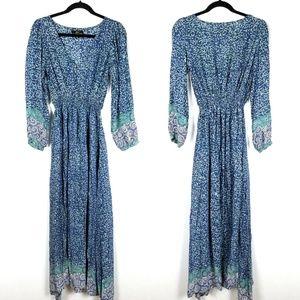 Natalie Martin Silk Blue Floral Boho Maxi Dress
